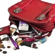 Stock Photo: Necessary things in red womhandbag