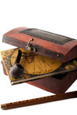 Antique treasury box with travel diery — Stok fotoğraf