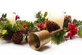 Bell and Christmas arrangement — Stock Photo