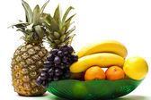 Fresh fruits on white background — Stock Photo