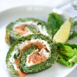 Stock Photo: Spinach and salmon roulade