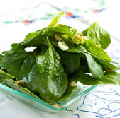 Ready spinach salad — Stock Photo