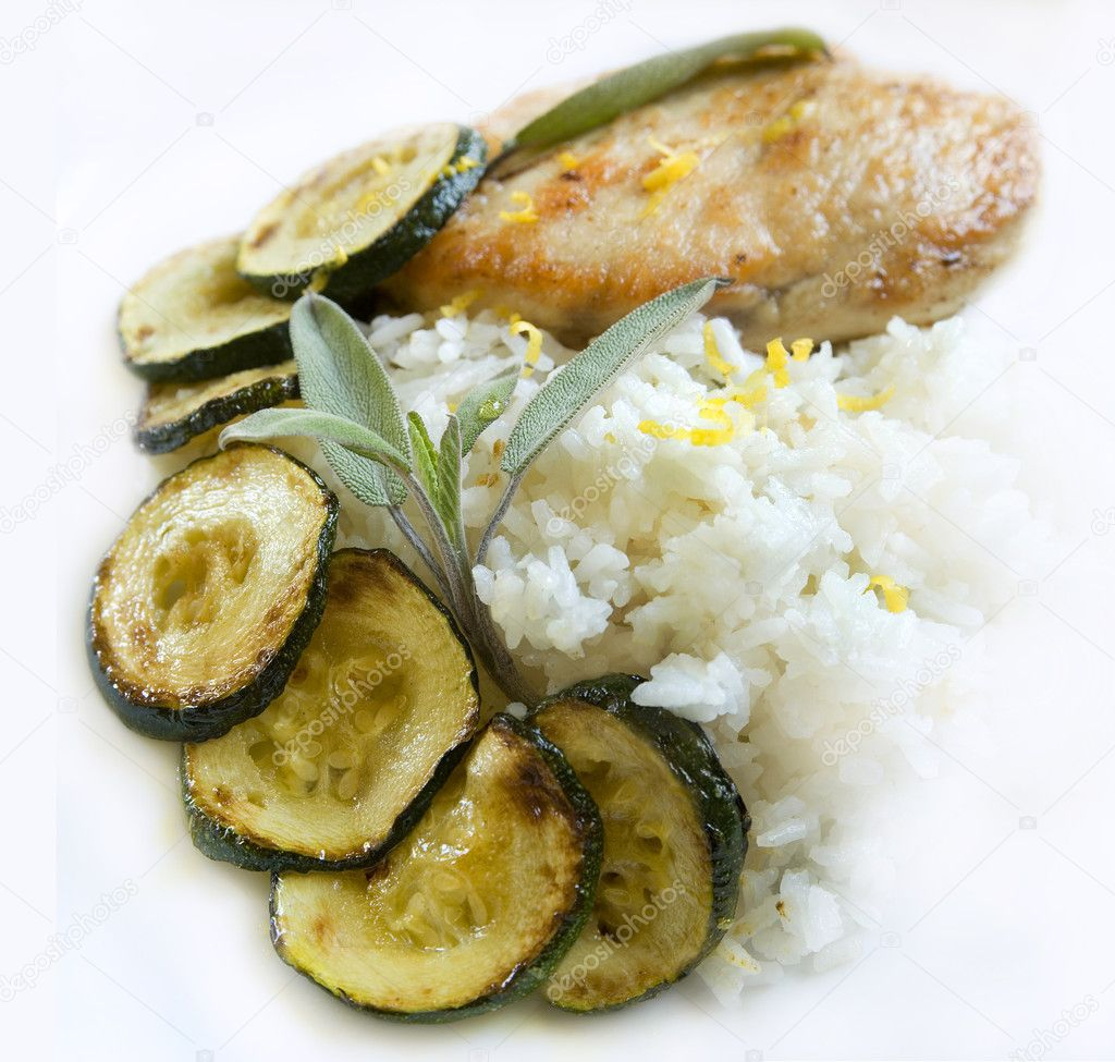 Fresh dish with chicken, salvia and zucchini  Stock Photo #1620183