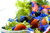 Summer salad with cornflower — Stock Photo
