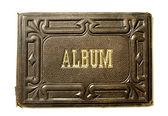 古いアルバムの最初のカバー — ストック写真