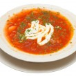Soup plate of borsch — Stock Photo