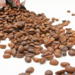 Spilled coffee beans — Stock Photo