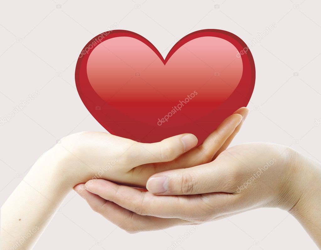 Nice, red heart and two hands — Stock Photo #1607379