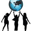 Girles and globe - Foto de Stock  