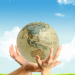 Three hands and a globe — Stock Photo