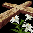 Stock Photo: White flower and a cross