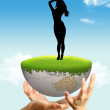 A girl and a globe — Stock Photo