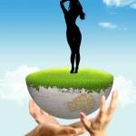 una ragazza e un globo — Foto Stock
