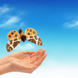 Foto Stock: Hand and butterfly