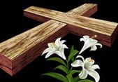 Weiße Blume und ein Kreuz — Stockfoto