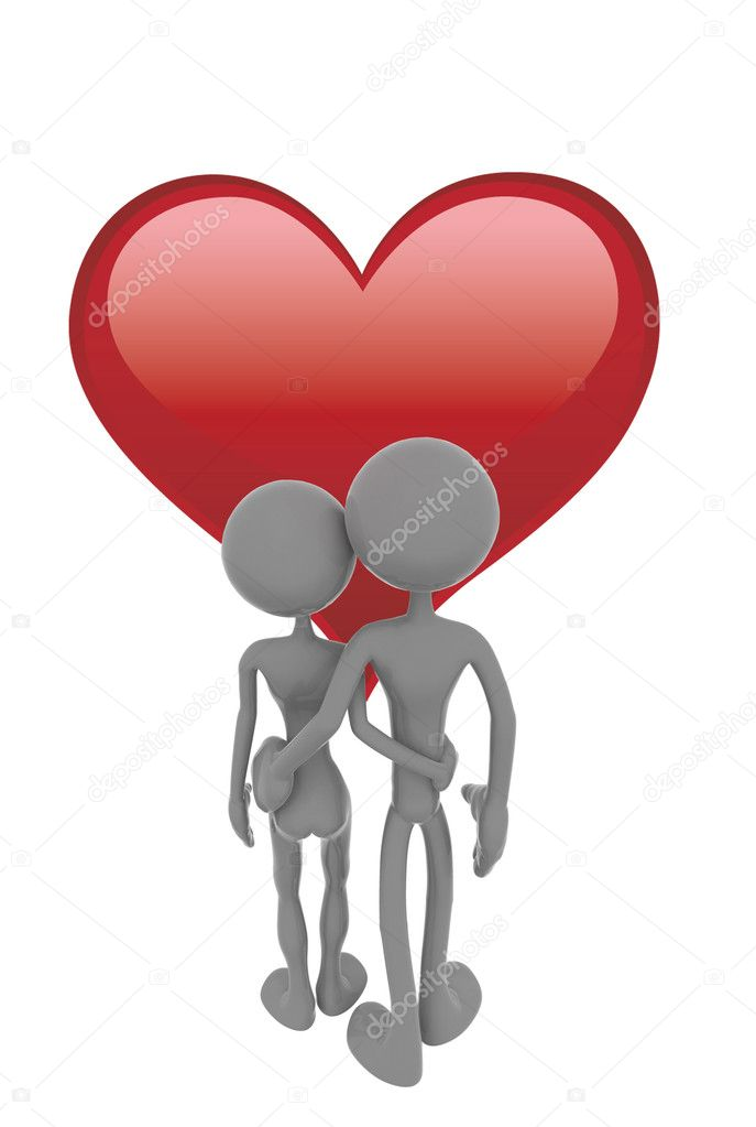 Nice picture with a red heart and two couples — Stock Photo #1727656