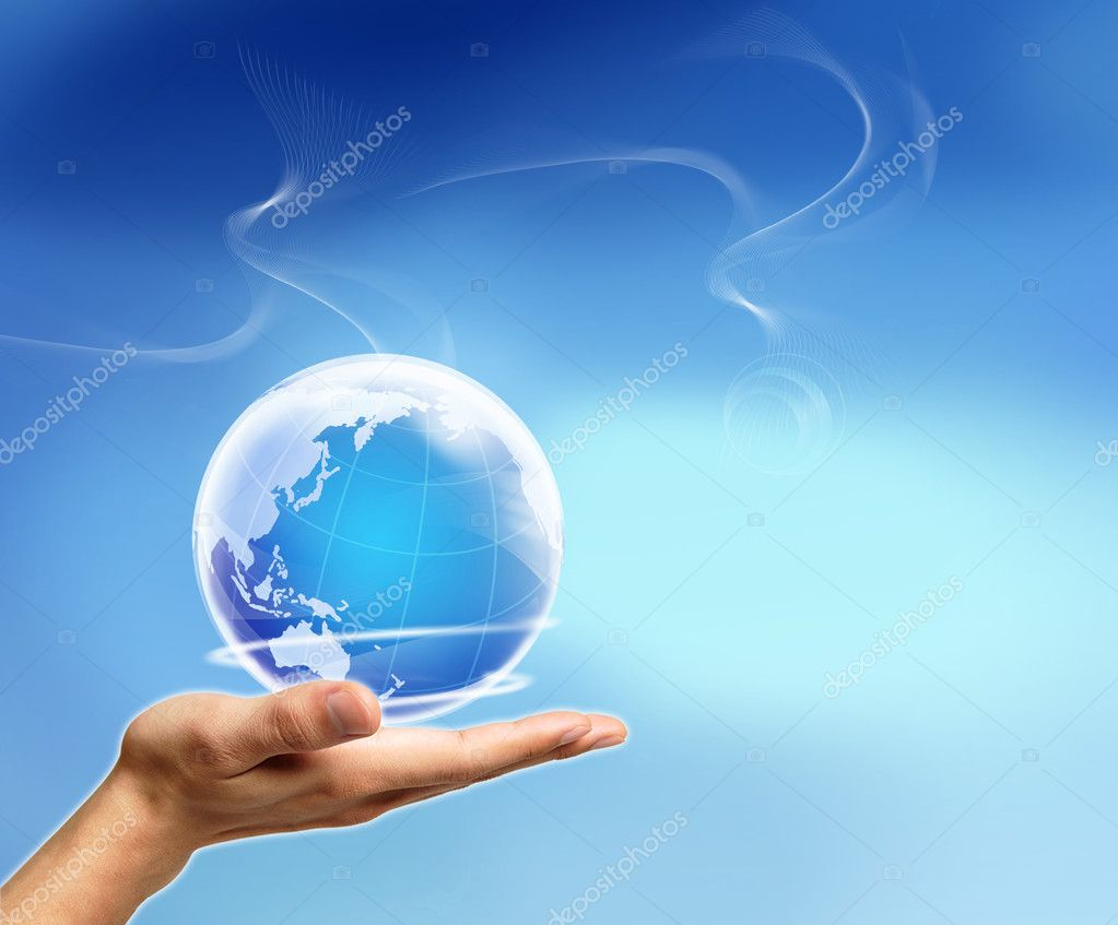 Nice decoration with a hand and Earth — Stock Photo #1729257