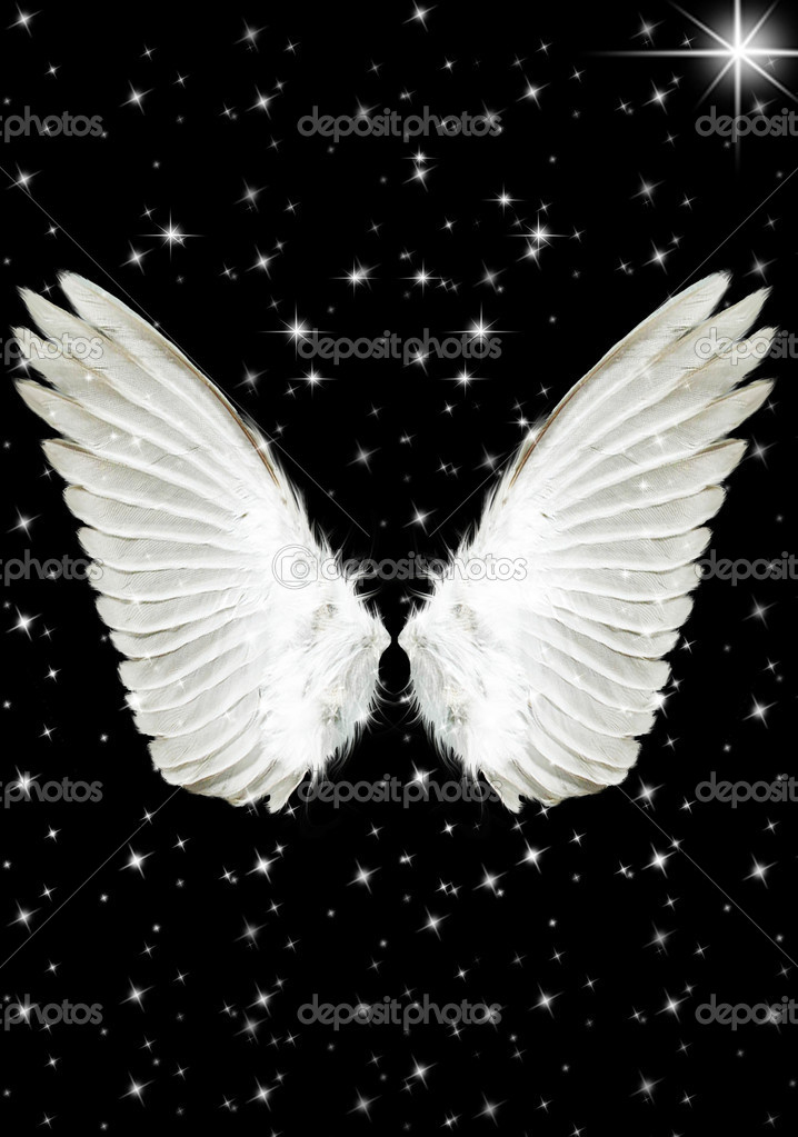 Nice big white angels wings in the night — Stock Photo #1731437