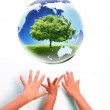 Earth and babies hands — Stock Photo