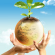 Three hands and earth — Stock Photo