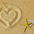 Heart on the sand - Stock fotografie