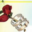 Two Roses And Rings — Stock Photo