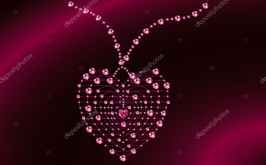 Jewelery heart on the pink background — Stock Photo #1805897