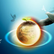 Stock Photo: Earth And Pigeon