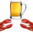 Crabs And Beer — Stock Photo