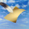 Flying Paper And A Feather — Stock Photo