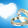 Heart and rings — Stock Photo