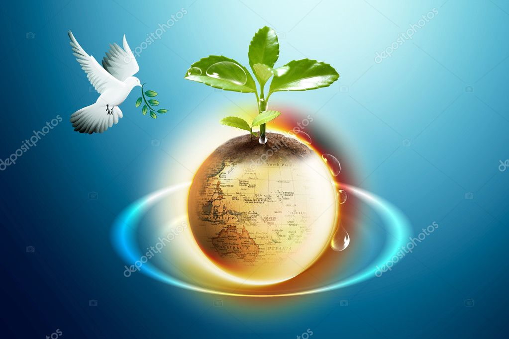 It is a picture with globes and pigeon  Stock Photo #1811806
