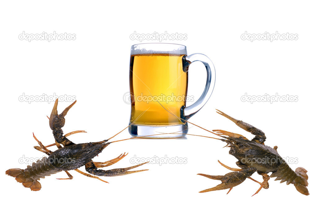Alcohol gold beer color isolated liquid crab fish — Stock Photo #1812871