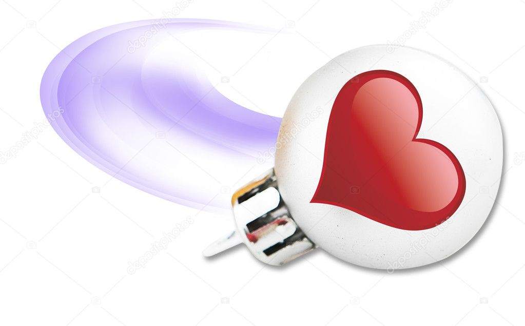 Red heart on the chrismas ball — Stock Photo #1832366