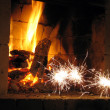 Firework near fireplace — Stock Photo