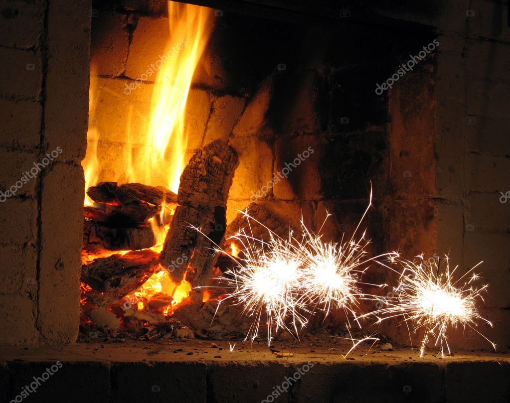Firework near fireplace — Stock Photo #1889670