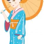 Japanese girl with umbrella — Stock Vector