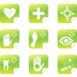Green medical set  symbols stickers — Stock Vector