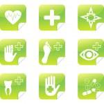 Green medical set symbols stickers — Stock Vector