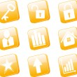 3d orange icons set - Stock Vector