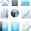 Business blue icons set — Stock Vector