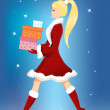 Girl with Christmas presents — Stock Vector