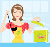 Housewife in kitchen — Stock Vector