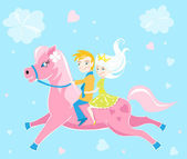 Children riding pony card valentines day — Stock Vector