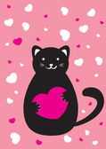 Cat with heart — Stock Vector
