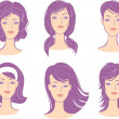 Set woman face hairstyle - Stock Vector