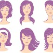 Stock Vector: Set womface hairstyle