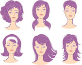 Set woman face hairstyle — Stock Vector