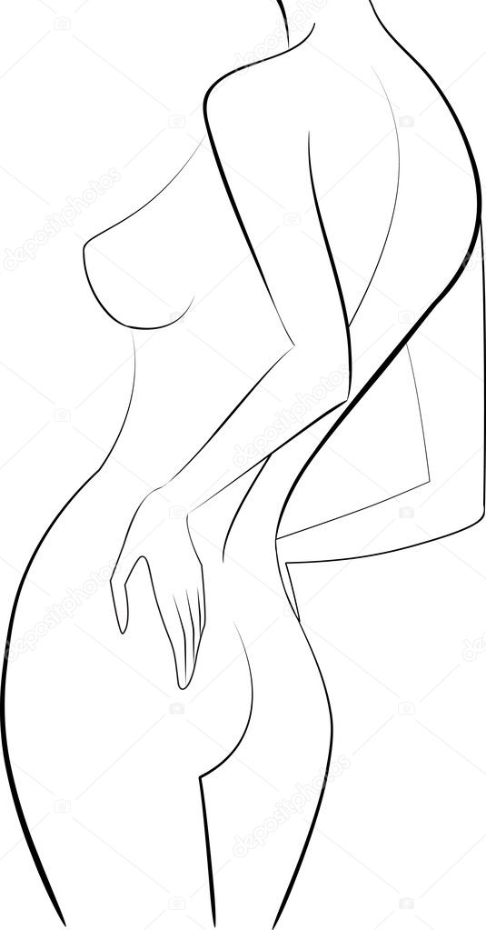 sketch woman back vector illustration — Stock Vector #2550432