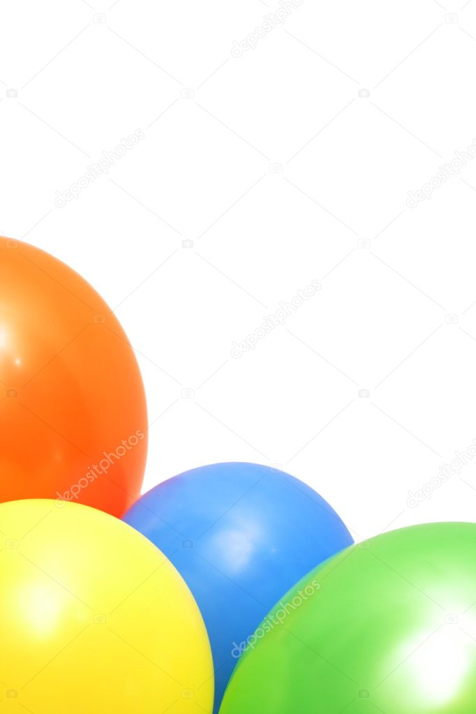 Three colorful balloons isolated on white background — Stock Photo #2110192